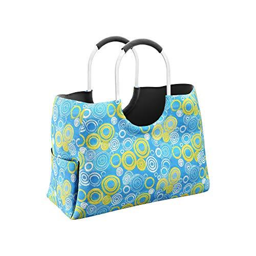 LOMOS Einkaufstasche aus wasserabweisendem Kunststoff in hell-blau/gelb, Größe L