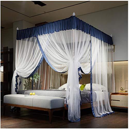 Yangm Elegant hemelbed gordijnen Princess 4 hoekpalen - muggennet bed-overkapping voor meisjes kinderen volwassenen vrouwen beddengoed decor slaapkamer huishouden