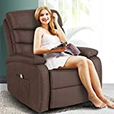 Artist Hand 8 Point Massage Recliner Lounge Chair, Zero Gravity Microfiber Ergonomic Living Room Sofa with Heated Control Home Theater Seating Fit for Office Nap (Brown)