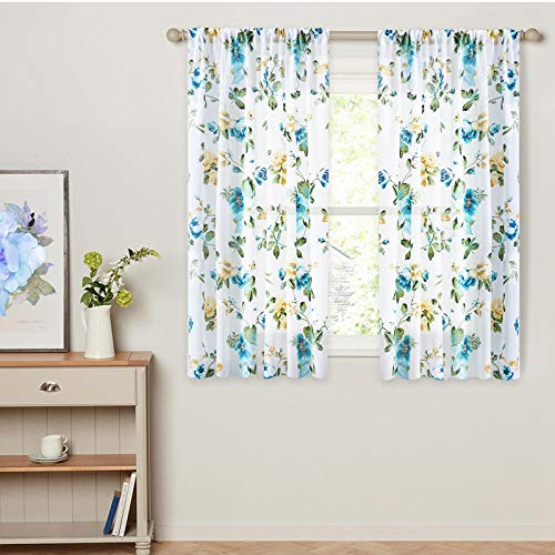 Printed Sheer Curtains 45 inches Long Living Room Floral Leaf Print Window Curtain Sheers Bedroom Window Treatment Set Kitchen Vintage Rustic 2 Panels Rod Pocket Voile Drapes - Aqua Blue Flowers