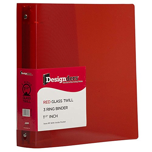 JAM PAPER Plastic 1.5 inch Binder - Red 3 Ring Binder - Sold Individually