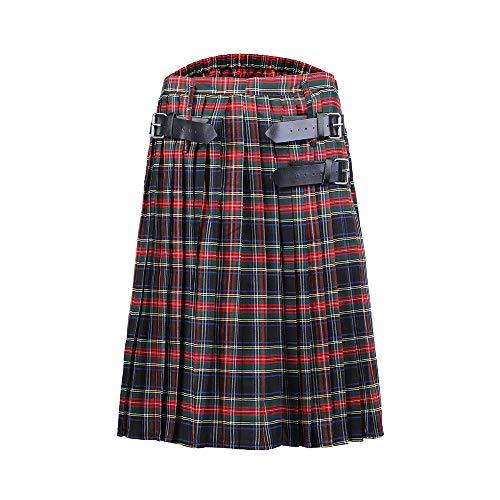 Loozykit Herren Gothic Schottenrock Tartanmuster Schottischer Utility Kilt Klassischer Rock Highland Kleid Cargo Kilt Traditionell Schottenrock Verstellbar Mittellanger Rock
