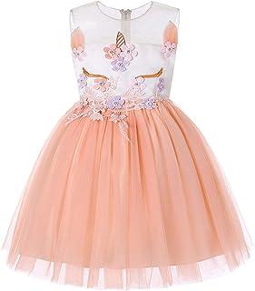 女の子のパーティードレス 女の子ユニコーンドレスノースリーブプリンセスドレス子供のイブニングコスチューム フォーマルなパーティーの誕生日の卒業プロムのダンスのボールのドレスドレス (サイズ : 7T)