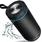 COMISO Bluetooth Speaker Waterproof IPX7 (Upgrade), 25W Wireless Portable Speaker 5.0 with Loud Stereo Sound, 360 Surround Sound, 36 Hours Playtime, 100ft Bluetooth Range Outdoor Speaker (Black)