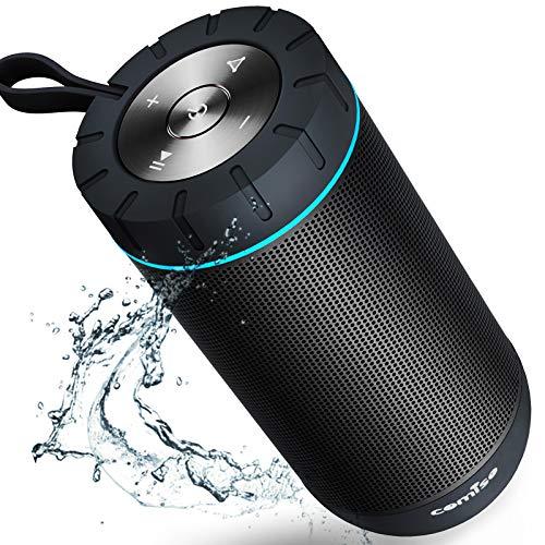COMISO Bluetooth Lautsprecher IPX7 Wasserdicht, 25W Kabellose Tragbare Musikbox mit Freisprechfunktion, 360 Surround-Sound, 25 Stunden Spielzeit, 31m Bluetooth Reichweite, (Schwarz)