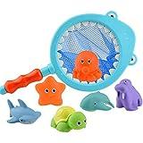 Rain City 2019 Badezimmer Angeln Spielzeug Badespiel Kescher und Random Sechs Kleintiere Puppen Geeignet für Babys über 3 Jahre alt