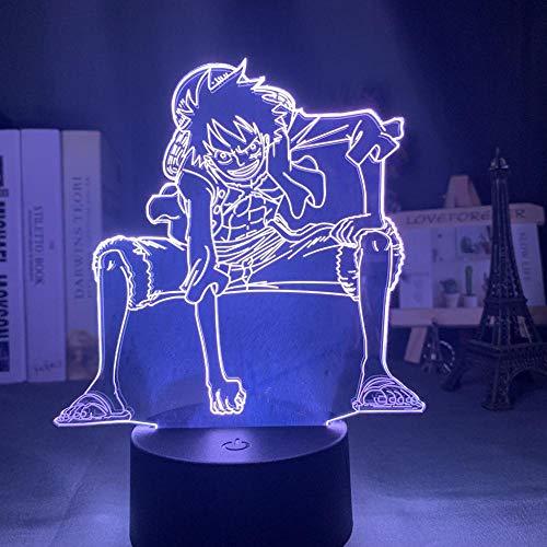 Lámpara De Ilusión 3D Luz De Noche Led Anime One Piece Luffy Usb Con Pilas Decoración De La Habitación De Los Niños Decoloración De 16 Colores Regalos Para Niños Regalos De Navidad