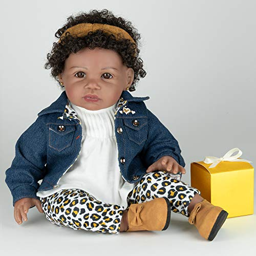 Paradise Galleries African American Black Reborn Toddler Girl Doll - Surprise & Delight, 21 inches in SoftTouch Vinyl, 8-Piece Doll Set