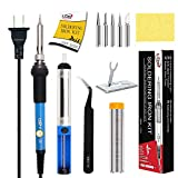LDK Soldering Iron Kit Electronics, [Upgraded] Full Set 60W 110V Adjustable Temperature Welding Tool with 5pcs Different Tips, Stand, Tweezers, Sponge, Solder Sucker, Solder Wire and User Manual