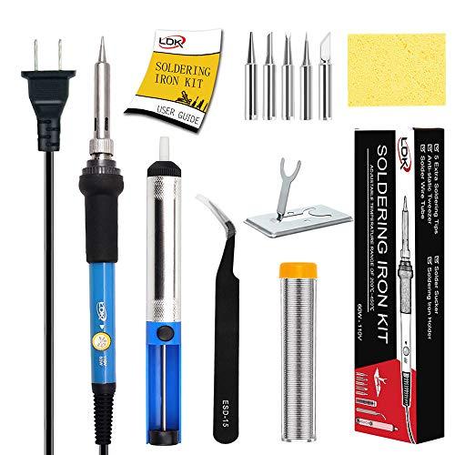 LDK Soldering Iron Kit Electronics, [Upgraded] Full Set 60W 110V Adjustable Temperature Welding Tool with 5pcs Different Tips, Stand, Tweezers, Sponge, Solder Sucker, Solder Wire and User Manual