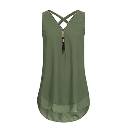 806f30a4228b3 HARRYSTORE Women s Scallop Hem Tank Top Summer Casual V-Neck Sleeveless  Chiffon Shirt Criss Cross