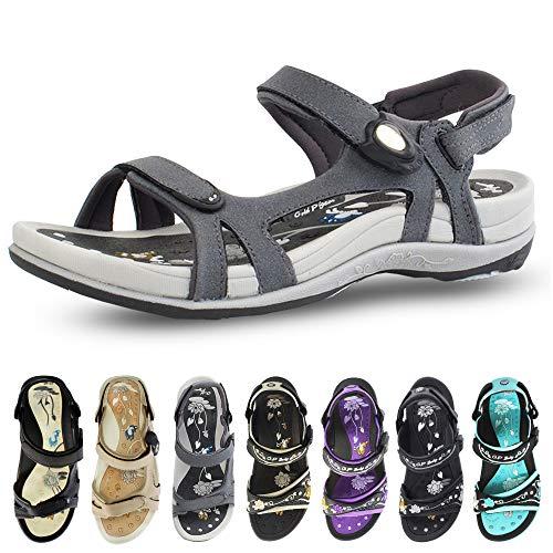 Gold Pigeon Shoes GP Signature SNAP Lock Sandals for Women: 9179 Grey, EU40 (US Size 9-9.5)