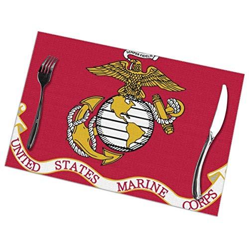 Beryl Shop Us Marine Corp Flag Tischsets für Esstisch Waschbare Tischsets aus Polyester für Küchen-Esstischmatten 6er-Setiece