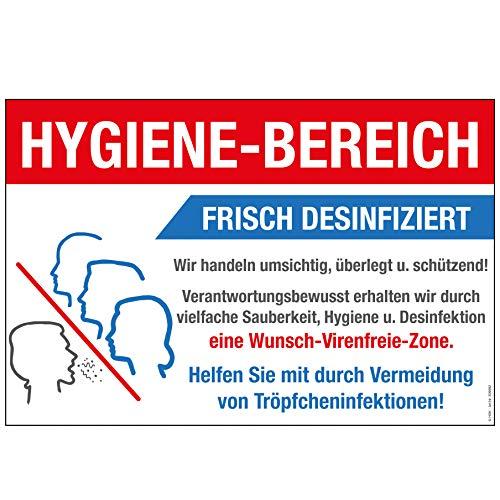 Warnschild - Hygiene-Bereich Frisch Desinfiziert - Gr. ca. 30 x 20 cm - 309892 - Schutz vor Viren und Bakterien
