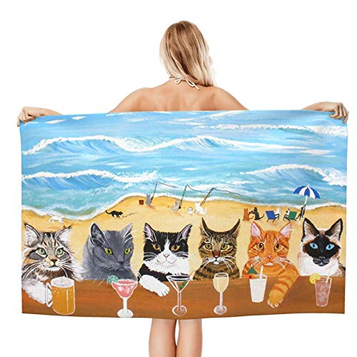 Beach Towel Cute Cat Oversized Microfiber Pool Towels For Adults Kids Soft Lightweight Sand Free Quick Dry Bath Towel For Swimming Camping Boating 32 x 52 inch
