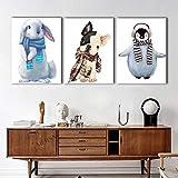 ganlanshu Pintura nórdica Cartel nórdico Animal de Dibujos Animados Lindo habitación de los niños decoración de la Pared Arte Lienzo Cuadro ZGQ3406 40X60cmx3