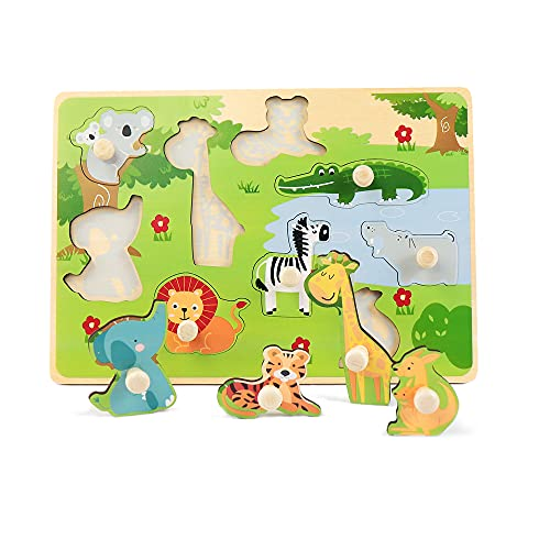 LEO & FRIENDS Zoo Animals Peg Puzzles, Wooden Toddlers Puzzles for Age 2-4, Preschool Educational Pegged Knob Puzzle Toy, Wooden Learning Toys for Baby Boys and Girls, 9 Pieces