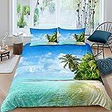 Set di biancheria da letto tropicale Hawaiian Beach Tröster Coconut Tree Palm Leaf Set copripiumino per bambini, ragazzi e ragazze, Ocean Coastal Fresh Nature
