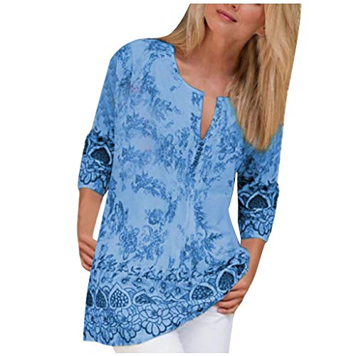 Auifor Damen Vintage Shirt, 90er Jahre Shirt, Casual Print Button Tops Bluse Größe 20