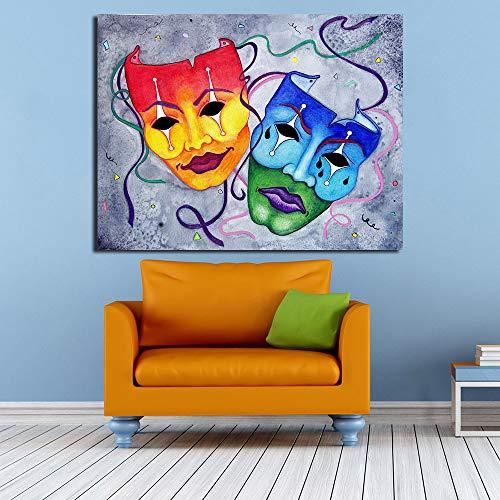Geiqianjiumai Paar Masker Modern olieverfschilderij Decoratie Wandschilderij Schilderij Frameloos schilderwerk