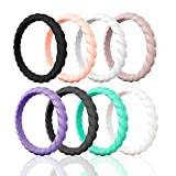 Egnaro Silicone Wedding Ring for Women,Thin and Stackble Braided Rubber Wedding Bands,No-Toxic,Skin Safe (13-Black,Rose Gold,White,Pink...