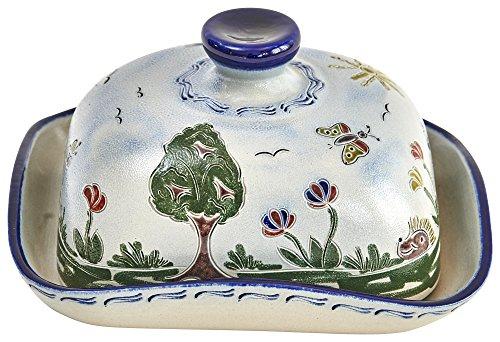 vivApollo Butterdose Butterglocke Original westerwälder Kannenbäckerland salzglasierte Steinzeug Keramik (groß Idas Garten)