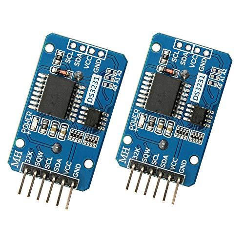 WayinTop 2 Stücke Real Time Clock DS3231 AT24C32 IIC RTC Uhr Modul Echtzeituhr Modul für Arduino für Raspberry Pi