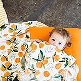 全6柄 ベビー おくるみ モスリンコットン 赤ちゃん ブランケット バスタオル 柔らかく ガーゼ 毛布 花柄 北欧 INS 人気 撮影小物 出産祝い プレゼント (みかん)