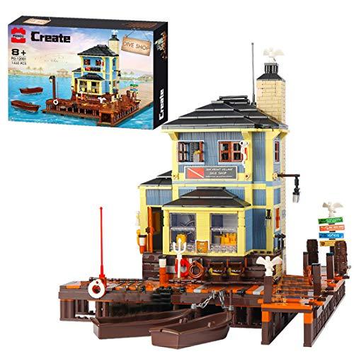 GILE Juego de construcción de bloques de construcción para casa, 1460 piezas, modular buceo, modelo de arquitectura de buceo, modelo compatible con tienda de pesca Lego 21310