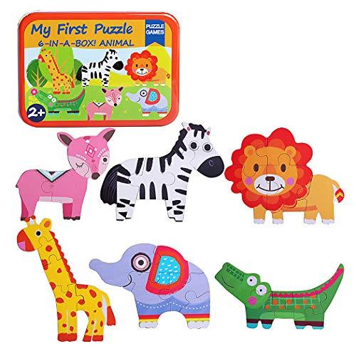 SIPLIV Rompecabezas Caja de Hierro para niños y niños de 2 a 5 años de Edad, Juegos y Juguetes de educación temprana, 6 Piezas por Juego - Animales
