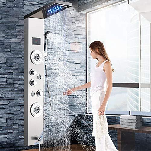 Saeuwtowy Panel de ducha LED de 5 funciones, ducha de cascada, columna de ducha de hidromasaje, acero inoxidable, pantalla LCD multifunción, montada en la pared, níquel cepillado