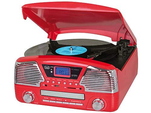Oferta de Tocadiscos con Radio y Bluetooth Trevi TT 1068 y Rojo