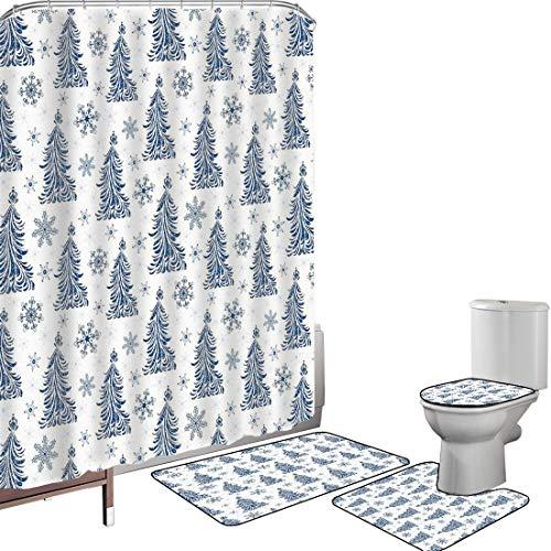 Shower Curtain Set Bathroom Accessories Carpet Set Winter Bath Mat Contour Rug Toilet Cover Abstract Blue Trees Artistic Silhouettes Snowflakes Seasonal Nature Ornaments,Dark Blue White Non-Slip Water
