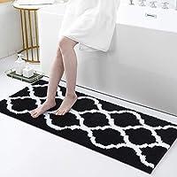 Olanly Non-Slip Absorbent Microfiber Bath Shower Mat (17 Inch x 47 Inch, Black)