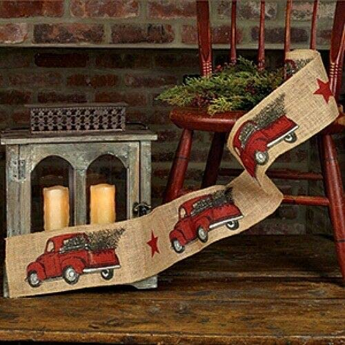 MIABE - Primitive Animer and price revision Rustic Vintage Christmas RED Truck supreme Burlap Tree