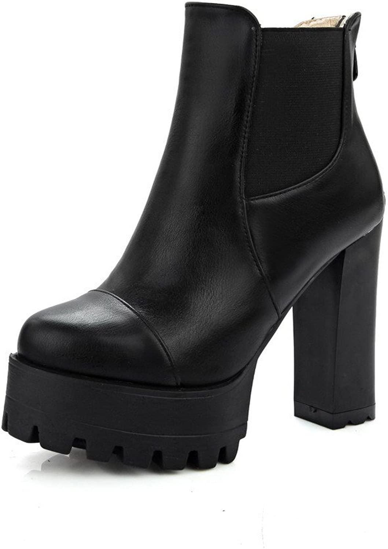 AllhqFashion Women's Zipper High Heels Pu Solid Low-Top Boots