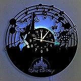 Orologio da Parete in Vinile, LED di Topolino Vintage Hanging notte della 7 Orologio da parete a colori, Fumetto Disney Clock regali di compleanno regali fatti a mano per la casa parete,B,With light