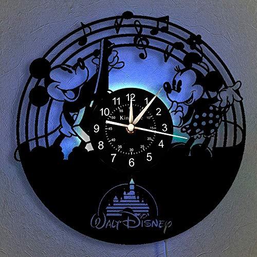 Smotly Vinyl-Wanduhr, Mickey Mouse Vintage Clock LED hängende Nachttischlampe 7 Farbe Wanduhr, Cartoon Uhr Disney-Geschenke Geburtstags-Geschenke handgemachte Hauptwanddekor,B,with Light