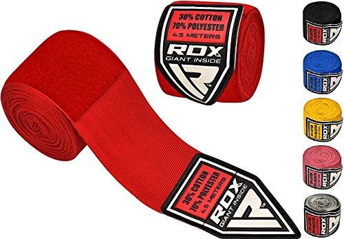 RDX Fasce Boxe Bende per Mani Elastico Polsi Pugilato Bendaggi 4,5 Metri MMA Guanti Interi Sottoguanti