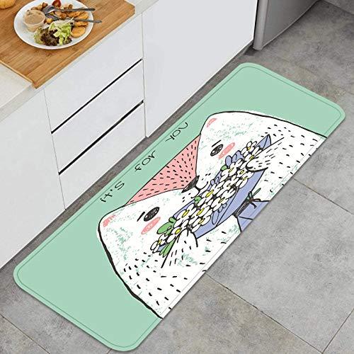PUIO Juegos de alfombras de Cocina Multiusos,Sosteniendo Flores Perros,Alfombrillas cómodas para Uso en el Piso de Cocina súper absorbentes y Antideslizantes