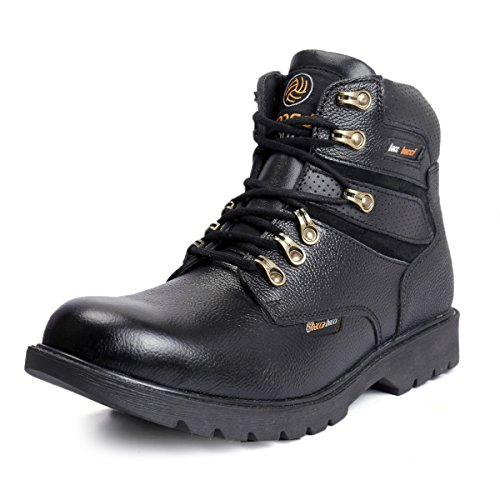 Bacca Bucci Mens 6 inches Premium Steel Toe Cap Real Grain Leather Outdoor Laceup Boots/Warranted Qualtiy & Durable Boot- Black