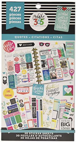 me & my BIG ideas Sticker Value Pack - The Happy Planner Scrapbooking Supplies - Quotes Theme - Multi-Color - Great for Projects, Scrapbooks & Albums - 30 Sheets, 427 Stickers Total