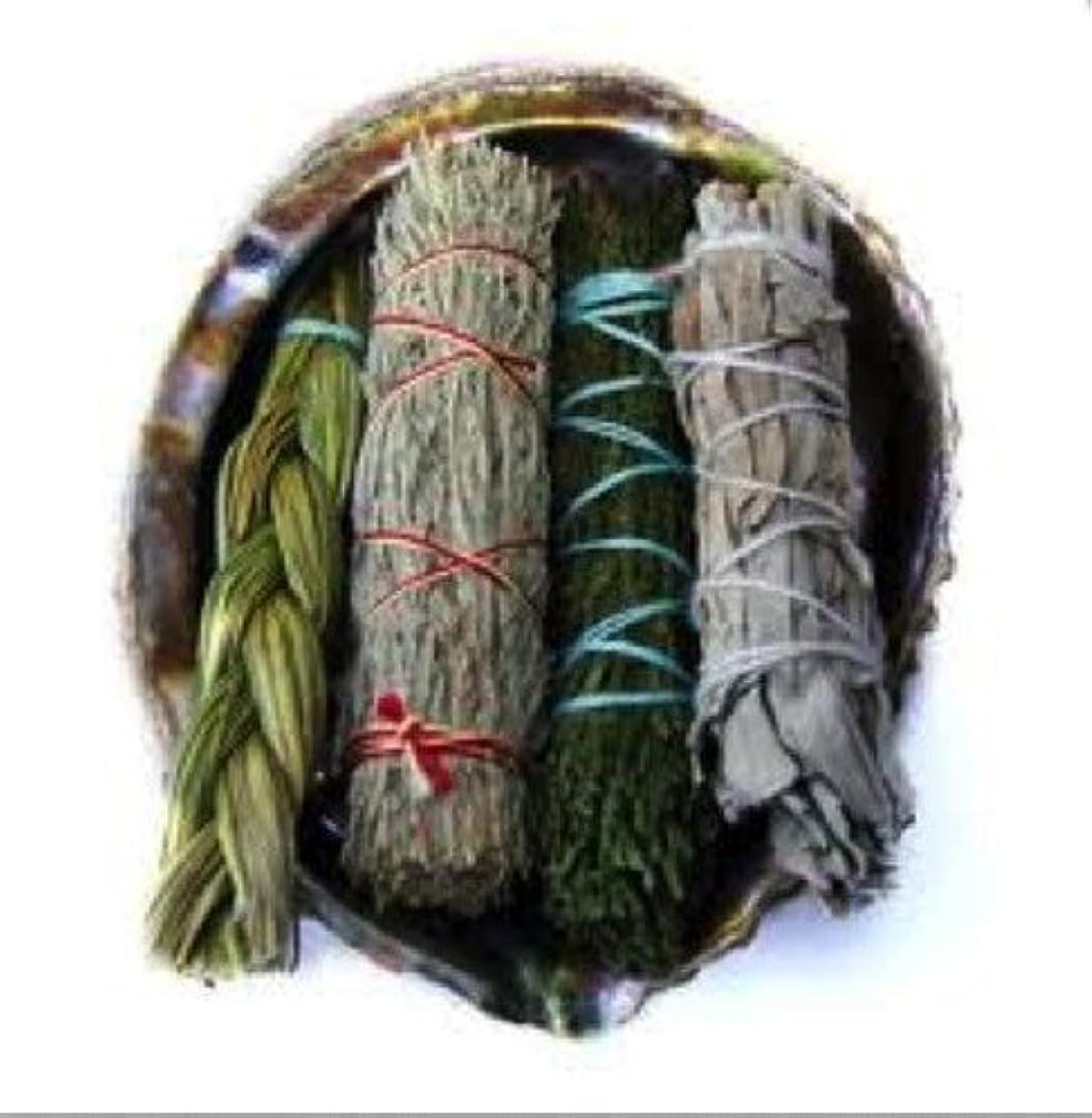 北米忠実アマゾンジャングルOfferings SmudgeキットIncludes Large Abaloneシェル、Sweetgrass三つ編み、ホワイトセージ、砂漠セージ、CedarセージSticks Plus砂