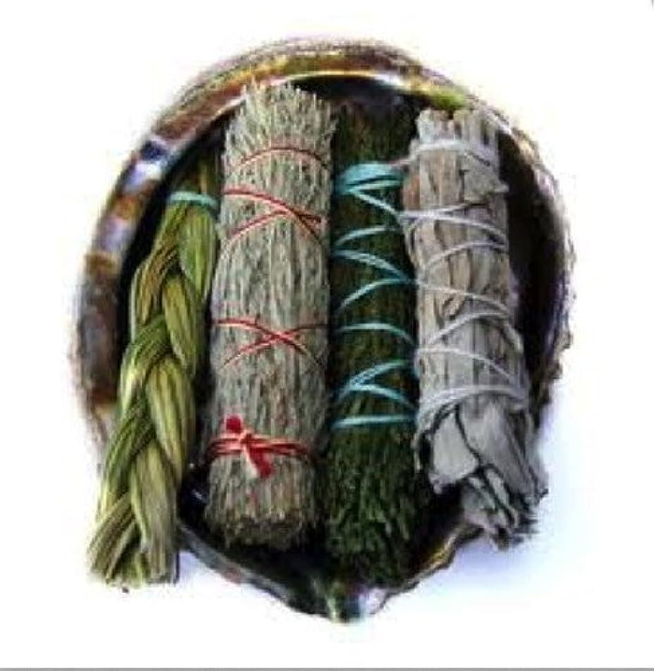 いつかコンプライアンス暴行Offerings SmudgeキットIncludes Large Abaloneシェル、Sweetgrass三つ編み、ホワイトセージ、砂漠セージ、CedarセージSticks Plus砂
