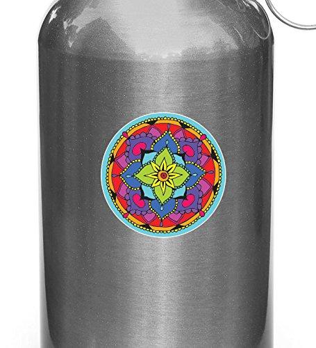 Yadda-Yadda Design Co. Mandala - Bloemen Mandala - Vinyl Sticker voor Herbruikbare Waterflessen - Waterfles - Copyright (3 inch dia.) (Kleurkeuzes) SMALL 3 inch dia. Blauw