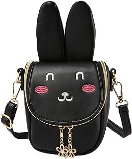FENICAL Easter Bunny Rabbit Ears Crossbody Bag Shoulder Bag Small Purse Handbag Messenger Bag Easter Gifts for Children Ki...