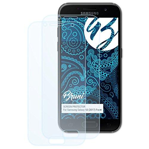 Bruni Schutzfolie kompatibel mit Samsung Galaxy A3 (2017) Front Folie, glasklare Bildschirmschutzfolie (2X)