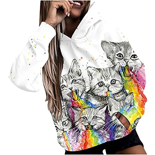 Cat Print Hoodie for Womens Funny Rainbow Moon Graphic Long Sleeve Sweatshirt Casual Loose Hooded Pullover with Pocket