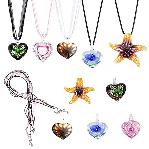 SUNNYCLUE 1 Set 5pcs Colorful Assorted Murano Lampwork Glass Pendant Necklace, 18'&19' Organza Ribbon Waxed Cord Necklace Clasp DIY Make 5 Dolphin Heart Starfish Lampwork Necklace Valentine's Day Gift