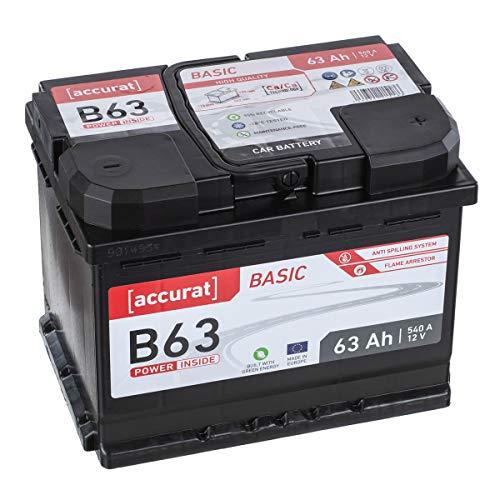 Accurat Autobatterie Starter B63 12V 63Ah 560A Blei/Säure Calcium Technologie hohe Startkraft statt 60Ah auch auf Kurzstrecken und in Dieselfahrzeugen